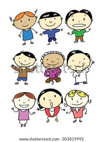 set of smiling children - stock vector