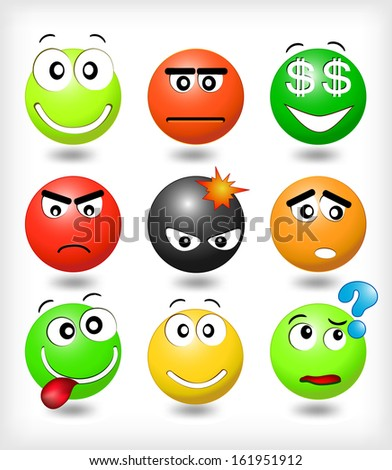 Set of smiling faces with different expression of emotions - stock vector