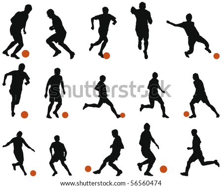 Set of Smooth Sport  Soccer (Football) People  Silhouettes in Different Poses. Attacking, Tricking, Defending, Running With Ball. High Detail Vector Illustration.