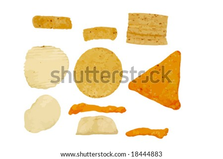 set of snack chips; potato chips, corn chips, tortilla chips, cheese puffs, wheat chip.  Isolated. VECTOR.