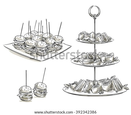 Set of snacks on a tray. Vector sketch.  - stock vector