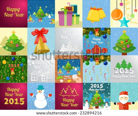 Set of snowflake and New Year greeting card with decorated christmas tree, snowmans and gifts against the background of glowing cards - stock vector