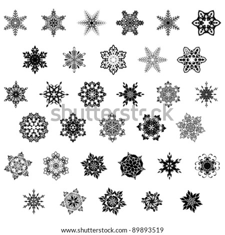Set of snowflake, vector - stock vector
