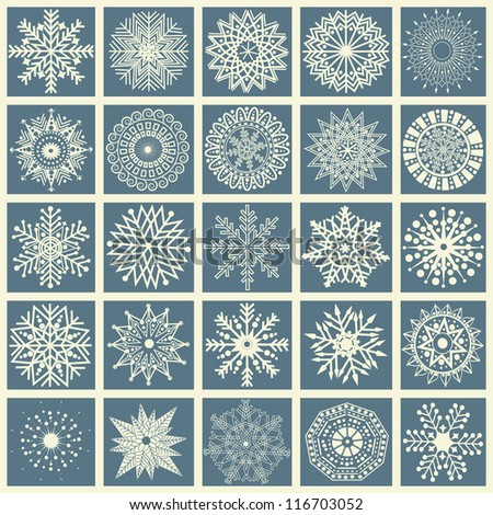 Set of snowflakes - stock vector