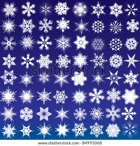 Set of snowflakes. 64 beautiful complex snowflakes - stock vector