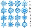 set of snowflakes. elements grouped - stock vector