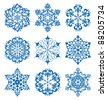 Set of snowflakes for winter design, vector illustration. Raster version available in my portfolio - stock photo