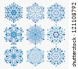 set of snowflakes. global colors used. elements grouped. layered vector for easy manipulation - stock vector