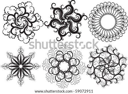 set of snowflakes isolated on white background - stock vector