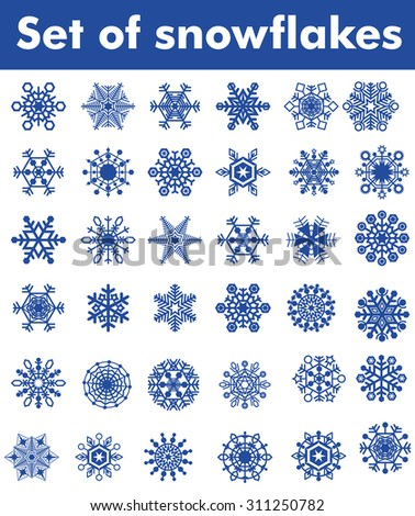 Set of snowflakes of different shapes. Easy to transform, recoloured. One snowflake - one object. - stock vector