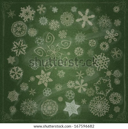 Set of Snowflakes over Chalkboard and baroque border - stock vector