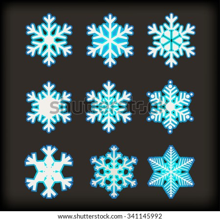 Set of snowflakes.Snowflake icon vector illustration. - stock vector