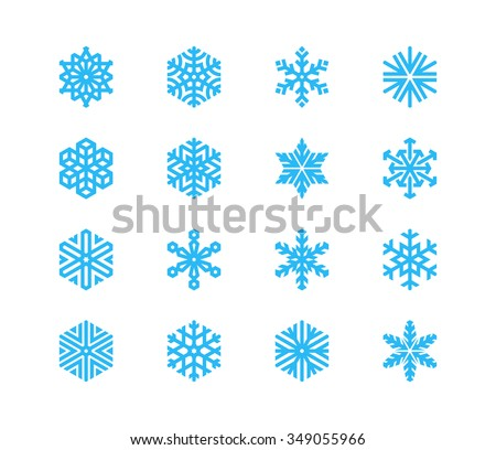 Set of snowflakes. 16 vector icons - stock vector