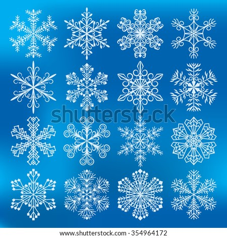 Set of snowflakes vector illustration