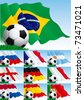 Set of soccer  backgrounds. Ten vector  background with soccer balls and dutch, french, russian, english, dutch, german, argentinean, portuguese, spanish, brazilian, spanish flags and  green grass. - stock photo