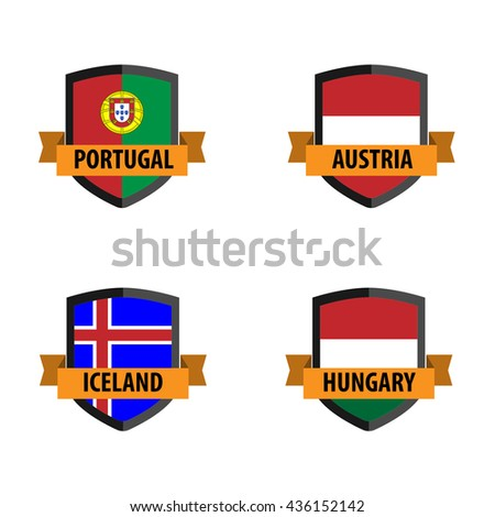 Set of Soccer badge with Nation Flag, Austria, Hungary,Iceland, Portugal - stock vector