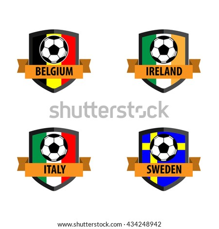Set of Soccer Badge with Nation Flag, Belgium, Ireland,Italy,Sweden - stock vector