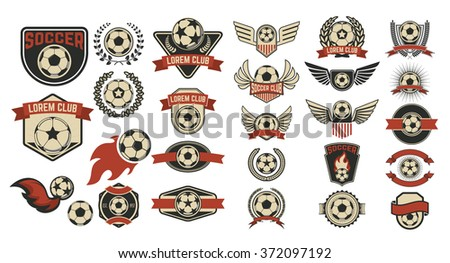 Set of soccer club labels. Retro vector design graphic element, emblem, logo, insignia, sign, identity, logotype, poster. - stock vector