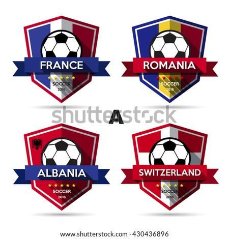 Set of soccer ( football ) badge.Illustration eps10 - stock vector