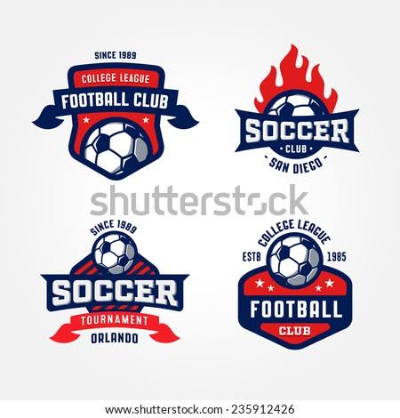 Set of Soccer Football Badge Logo Design Templates | Sport Team Identity Vector Illustrations isolated on white Background | Collection of Soccer Themed T shirt Graphics - stock vector