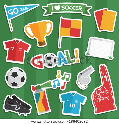 set of soccer/ football stickers with transparent shadows. - stock vector