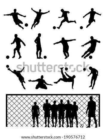 Set Of Soccer Player Football Black Vector Illustrations - stock vector