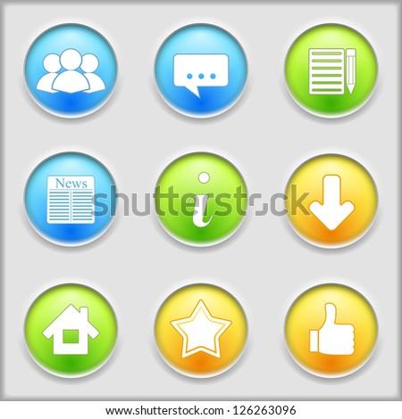 Set of social media icons, vector eps10 illustration - stock vector