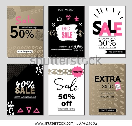 Collection Six Creative Sale Flyers Can Stock Vector 269183003 ...
