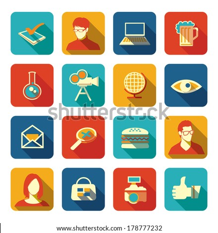 Set of social, media, web icons with long shadows - stock vector