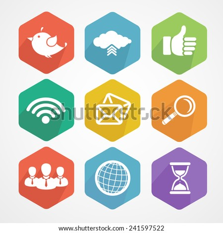 Set of social network icons flat in white silhouette vector illustration. Wifi, twitter bird, cloud computing, thumbs up, search, globe, mail. - stock vector