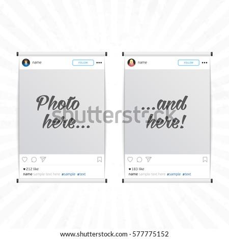 Set Social Network Photo Frame Isolated Stock Vector - Instagram frame template