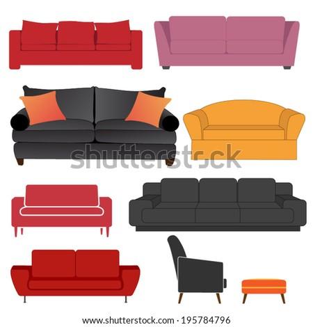 Set of sofas in vector format - stock vector