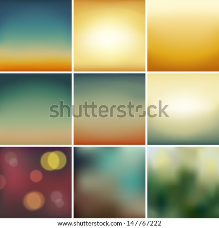 Set Of  Soft Colored Abstract Background - stock vector