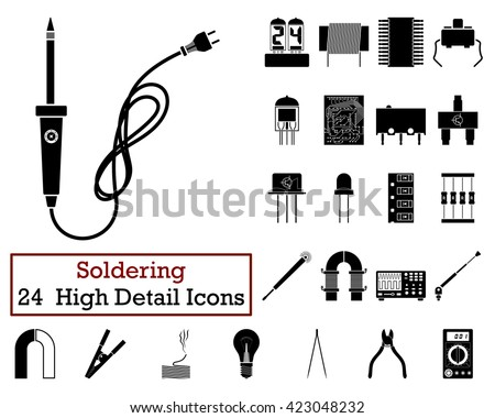 Set of 24 Soldering Icons in Black Color.Vector illustration.  - stock vector