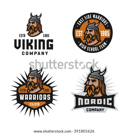 Set of Solid, Bold, Strong & Clean Badges & Symbols. Collection of Original Effective Powerful Emblems. Viking Warrior Head. Represents the Concept of Strength, Force, Gravity, North, Hard Work etc - stock vector