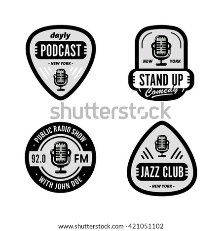 Set of Solid, Bold, Strong & Clean Badges Symbols For Stand Up Comedy, Radio Show, Podcast, Performer, Singer, DJ, Music Club, Broadcast etc. Collection of Original Effective Powerful Emblems & Marks - stock vector