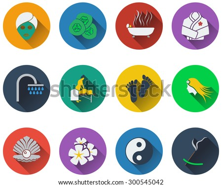 Set of spa icons in flat design - stock vector