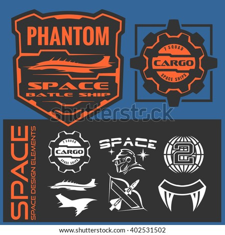 Set of space and astronaut badges, emblems, labels and design elements. Vector illustration.