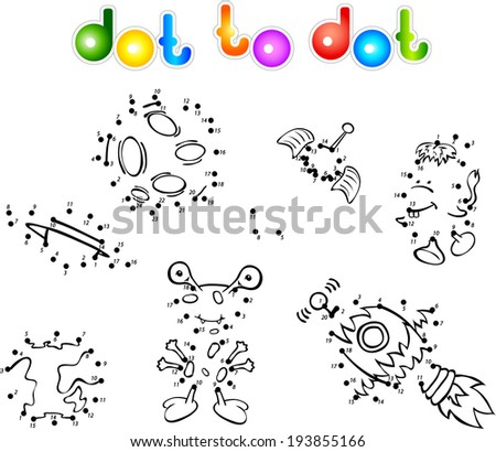 Set of space monsters, planets and rockets. Dot to dot - stock vector