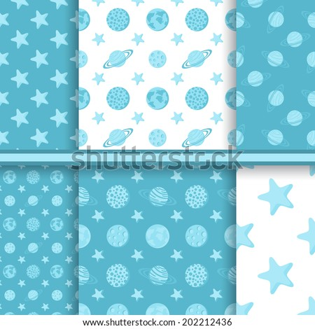 Set of space seamless patterns with planets and stars - blue vector background - stock vector