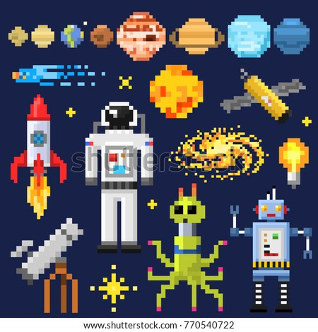 Set of space stars, alien spaceman, robot rocket and satellite cubes solar system planets pixel art, digital vintage game style. Mercury, Venus, Earth, Mars, Jupiter, Saturn. icons composition.