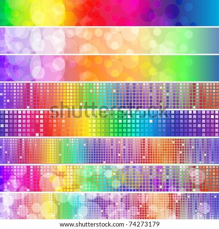 Set of spectrum banners with blurry lights and mosaic - stock vector