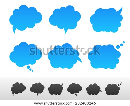 Set of speech and thought bubble shapes - stock vector