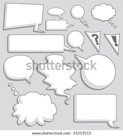 Set of Speech and Thought Bubble - Vector Illustration