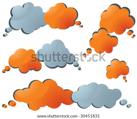 set of speech and thought vector clouds - stock vector