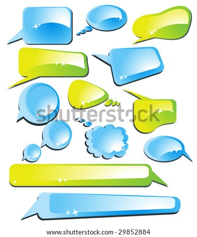 set of speech and thought vector elements - stock vector