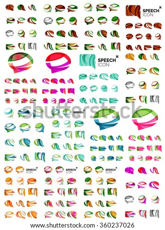 Set of speech bubble icons, overlapping shapes style design - stock vector
