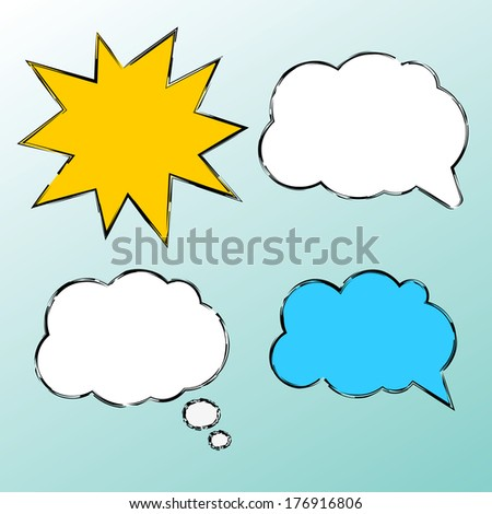 Set of speech bubbles, cloud and star. - stock vector