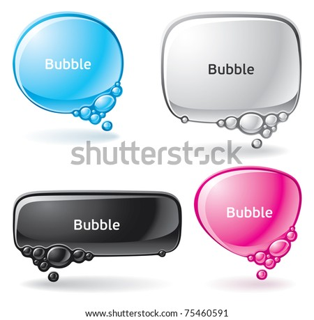 Set of speech bubbles formed from water - stock vector