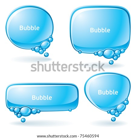 Set of speech bubbles formed from water